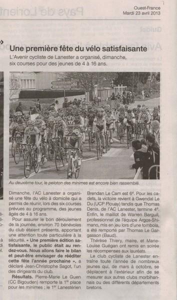 Ouest-France 23-04-2013 (Cliquez pour agrandir)
